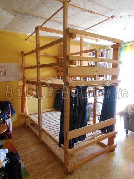 Bunk bed 100x200, spruce oiled (second hand loft bed)