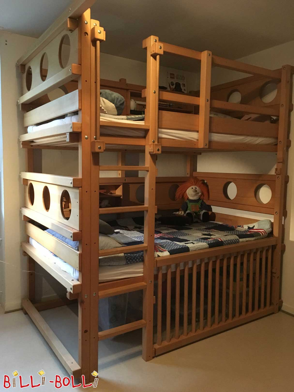 Bunk bed, 120 x 200 cm at student height in beech oiled-waxed (second hand loft bed)