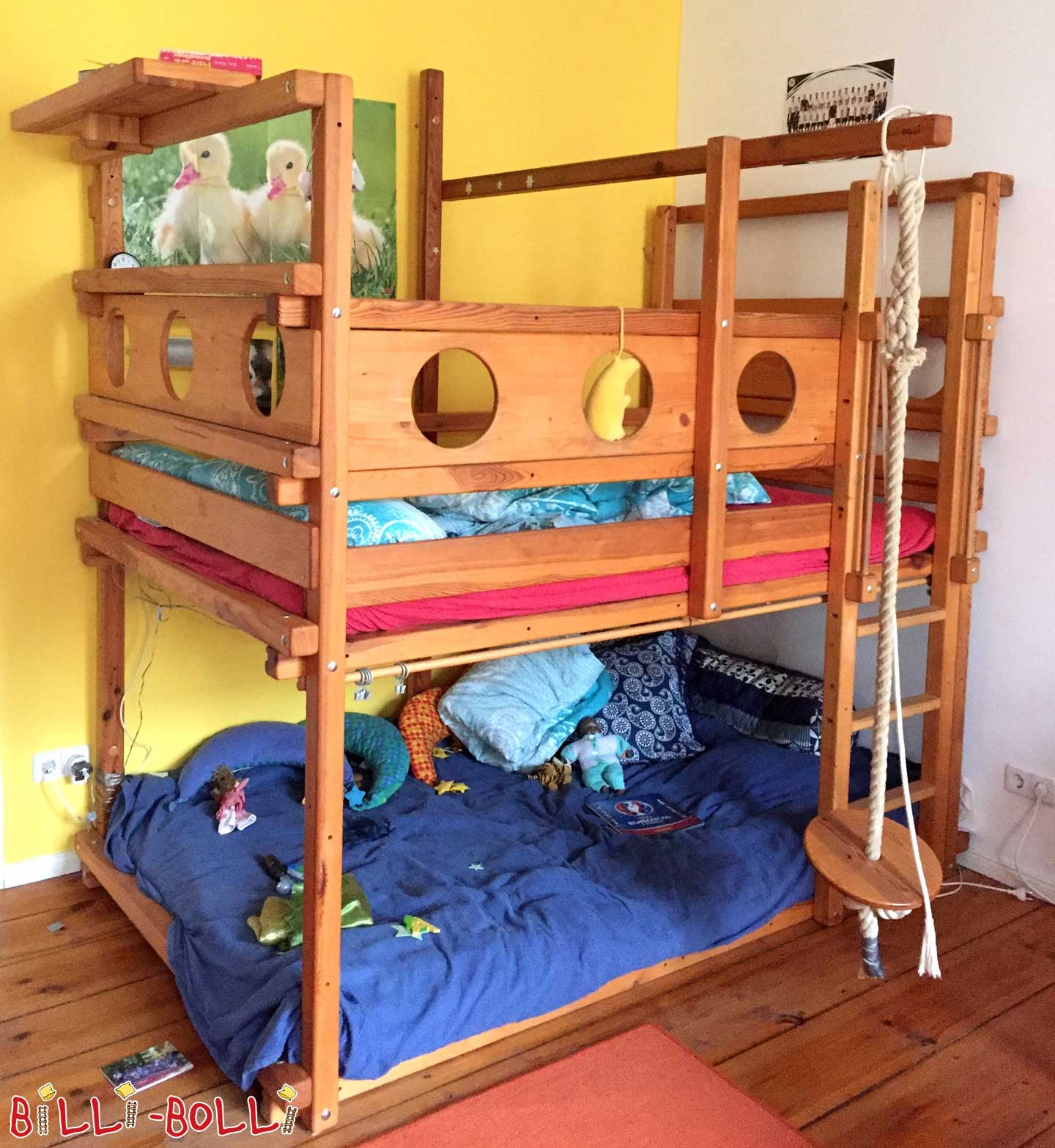 Bunk bed 120 x 200 cm, pine honey oiled (second hand bunk bed)