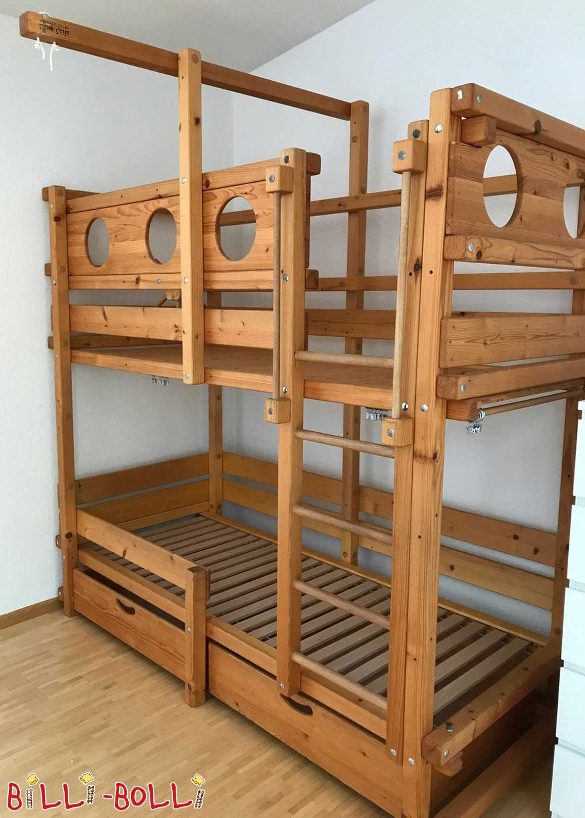 Bunk bed, 80 x 200 cm, spruce oiled-waxed (second hand bunk bed)