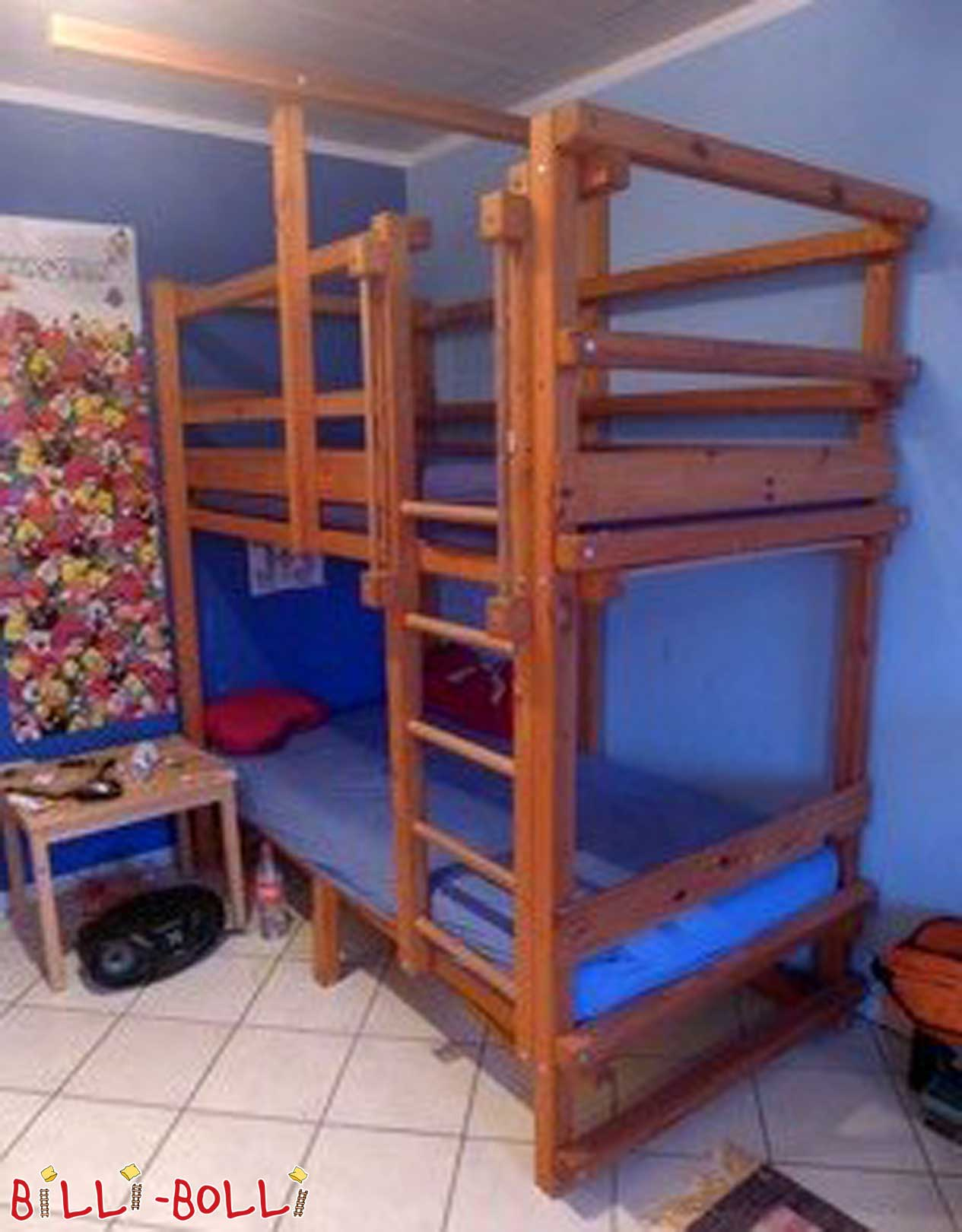 Bunk bed 90 x 190 cm, pine honey-coloured oiled (second hand bunk bed)