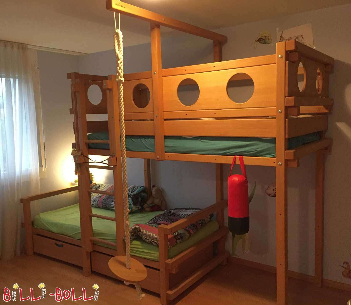 Bunk bed 90 x 200, beech waxed (second hand bunk bed)