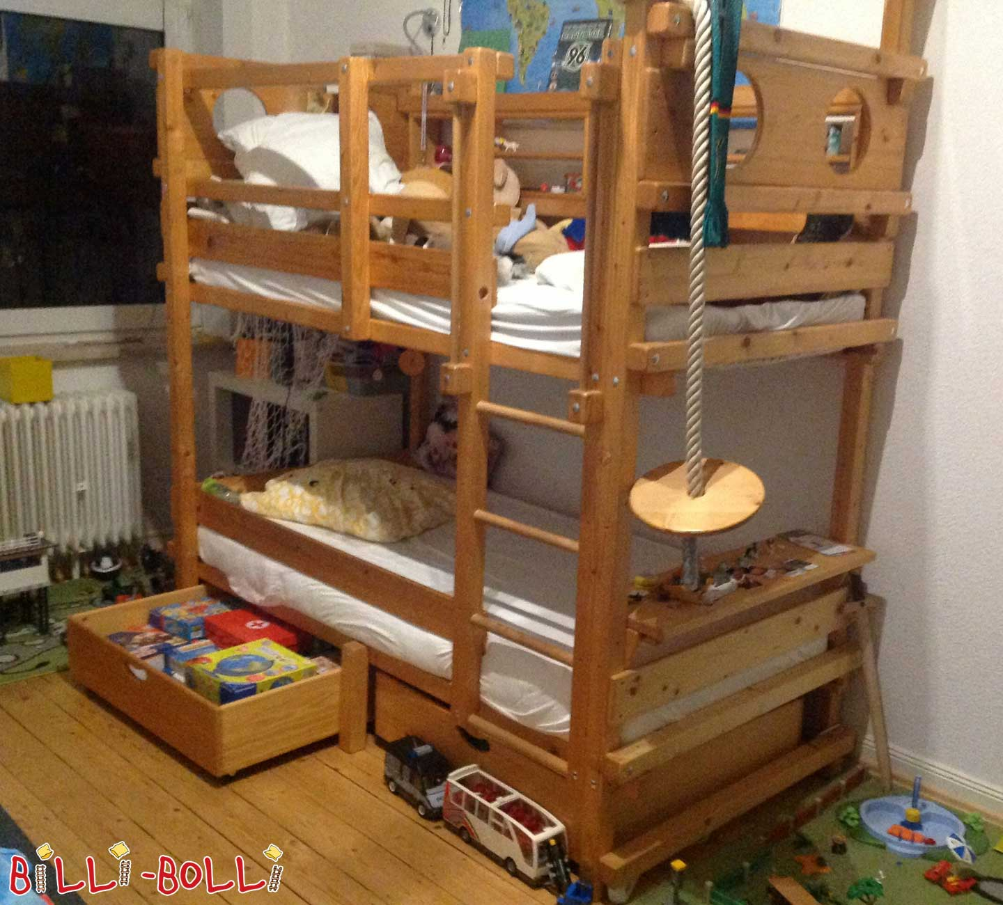 Bunk bed, 90 x 200 cm, spruce oil-waxed (second hand loft bed)