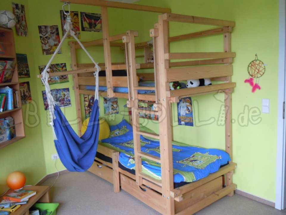 Bunk bed, 90 x 200 cm, spruce oil-waxed (second hand bunk bed)