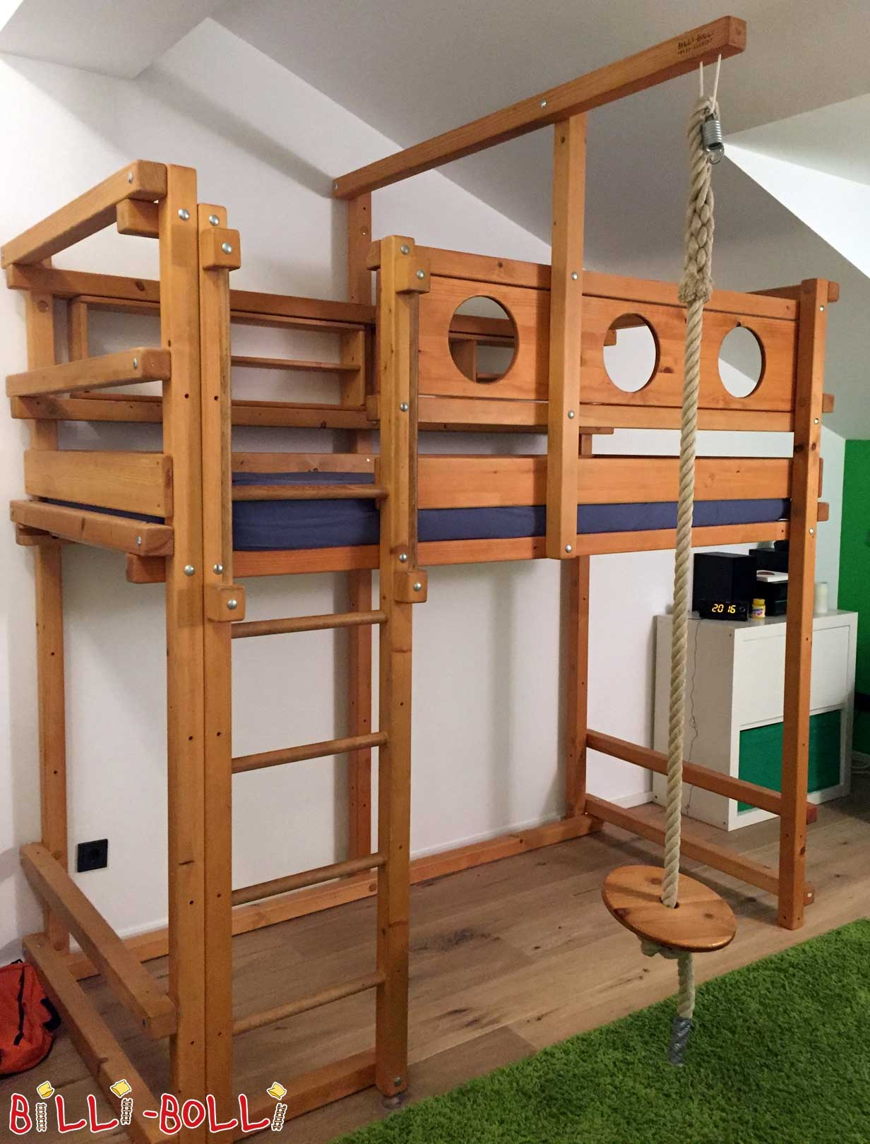 Bunk bed, 90 x 200 cm, spruce honey-coloured oiled (second hand bunk bed)