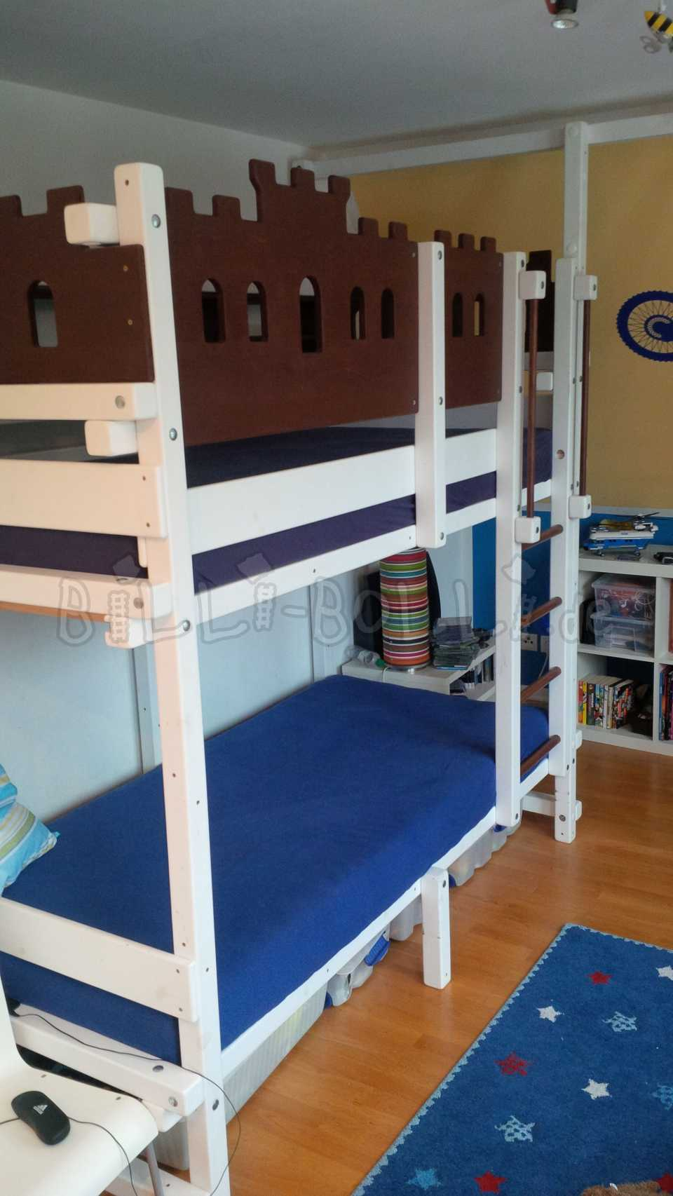 Bunk bed, 90 x 200 cm, spruce painted white (second hand bunk bed)