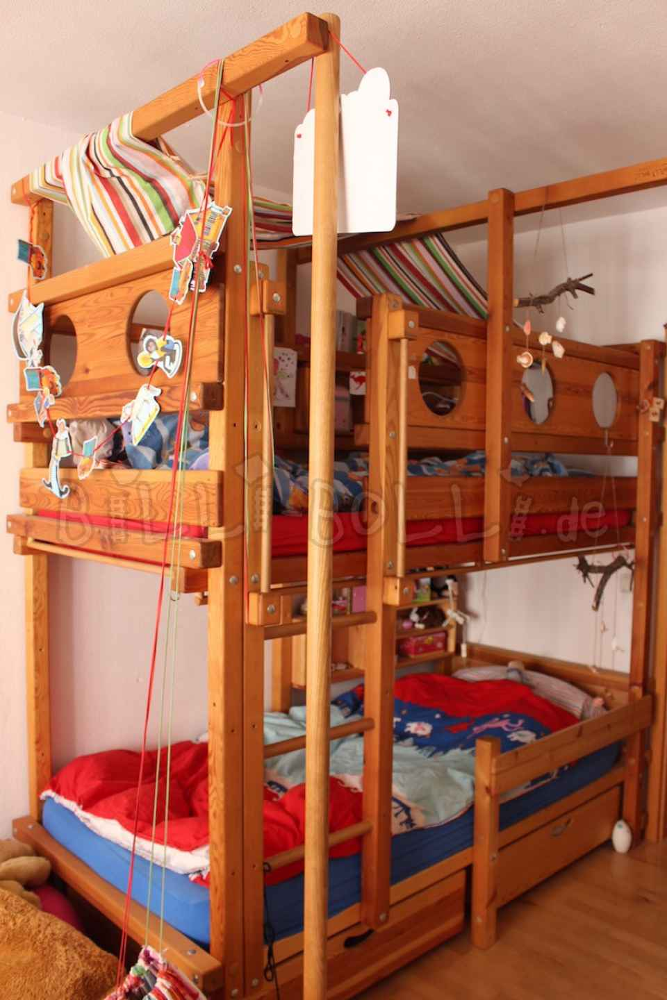 Bunk bed 90 x 200 cm, pine oil-waxed (second hand loft bed)