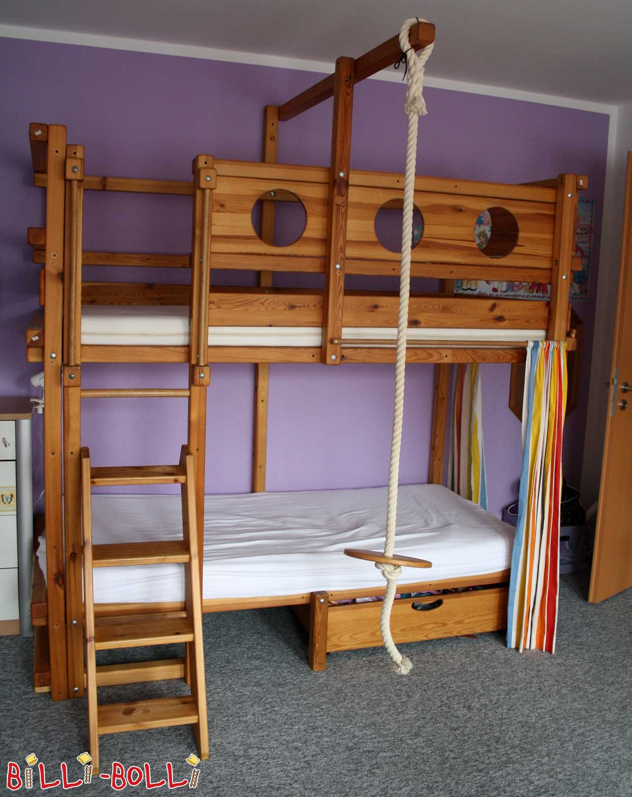 Bunk bed, 90 x 200 cm, pine oil-waxed (second hand loft bed)