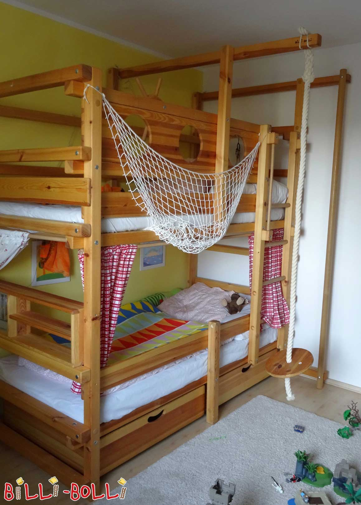 Bunk bed, 90 x 200 cm, pine oil-waxed (second hand bunk bed)