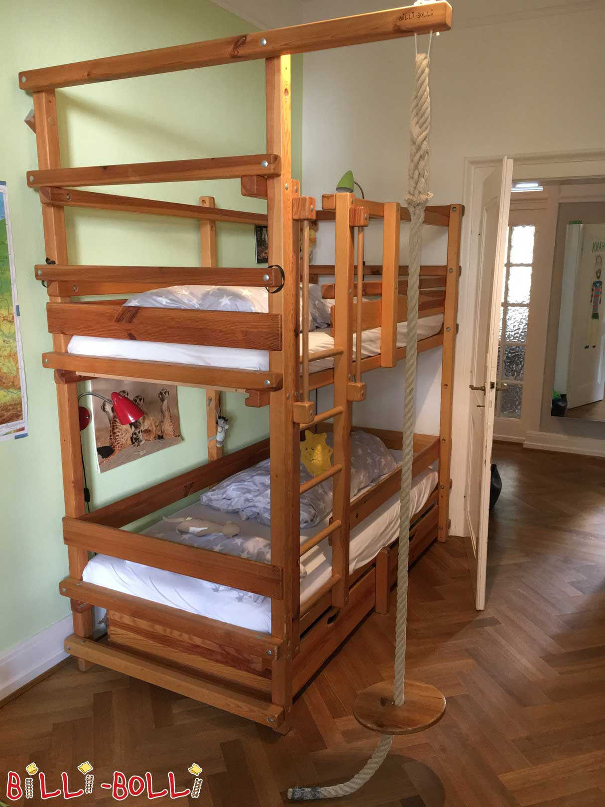 Bunk bed, 90 x 200 cm, pine oiled-waxed (second hand bunk bed)