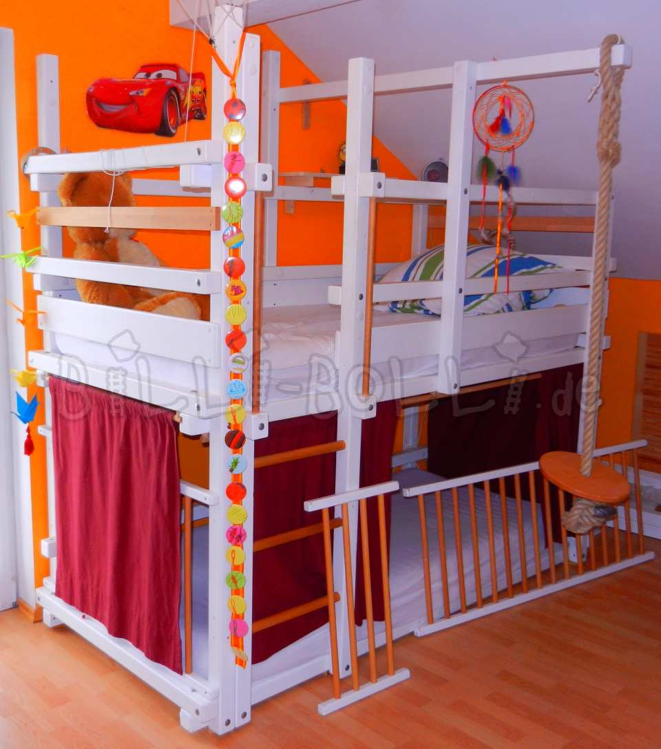Bunk bed, 90 x 200 cm, pine painted white (second hand bunk bed)