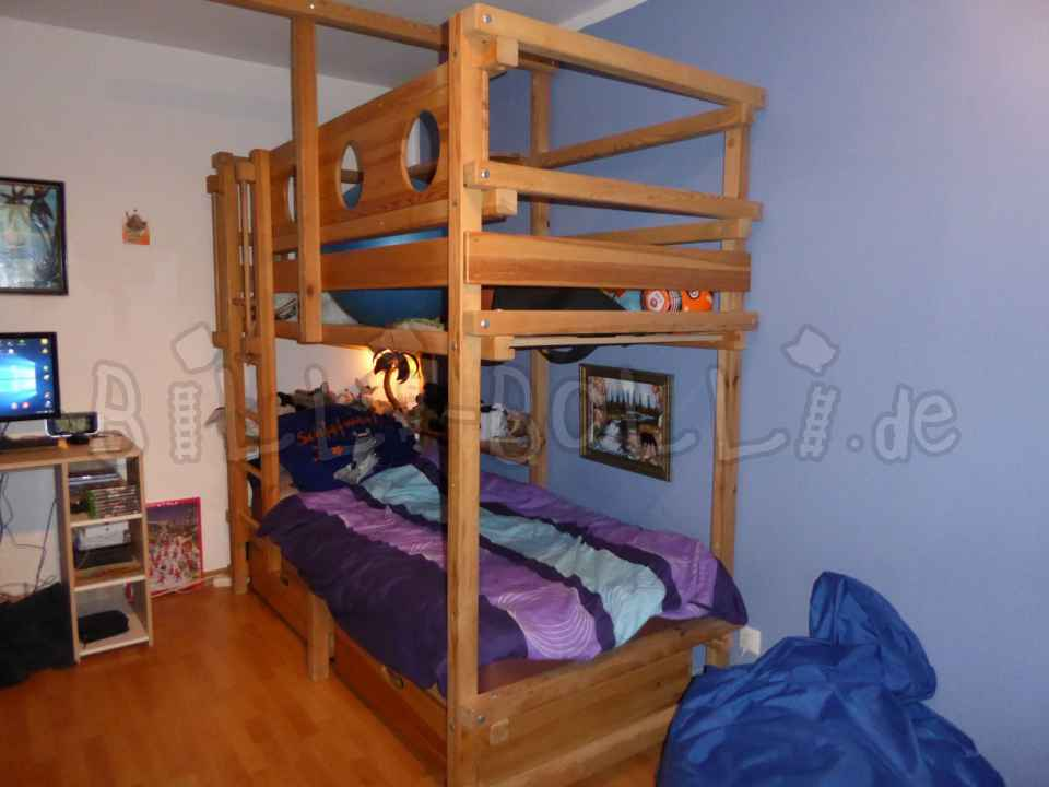 Bunk bed, 90 x 200, pine untreated with slide (second hand bunk bed)