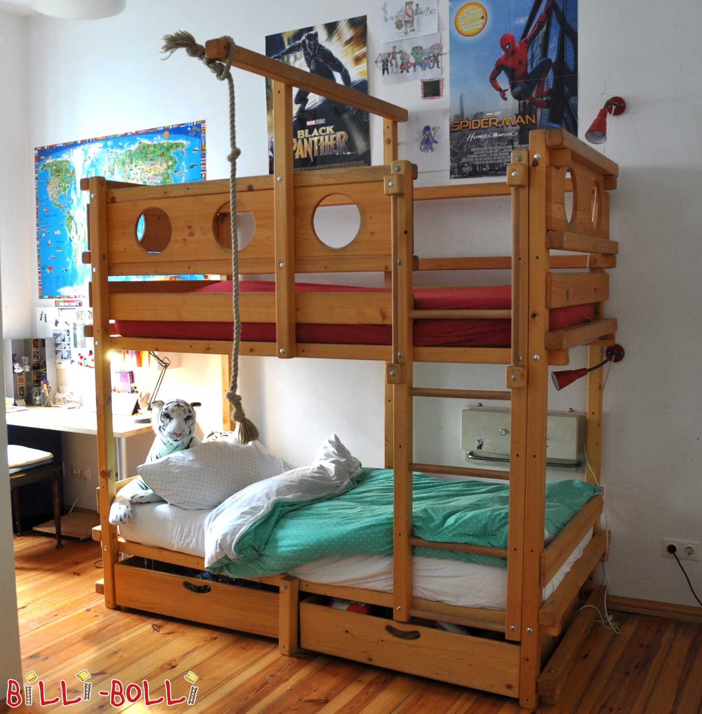 Bunk Bed Of oiled Spruce with Bed boxes (second hand loft bed)