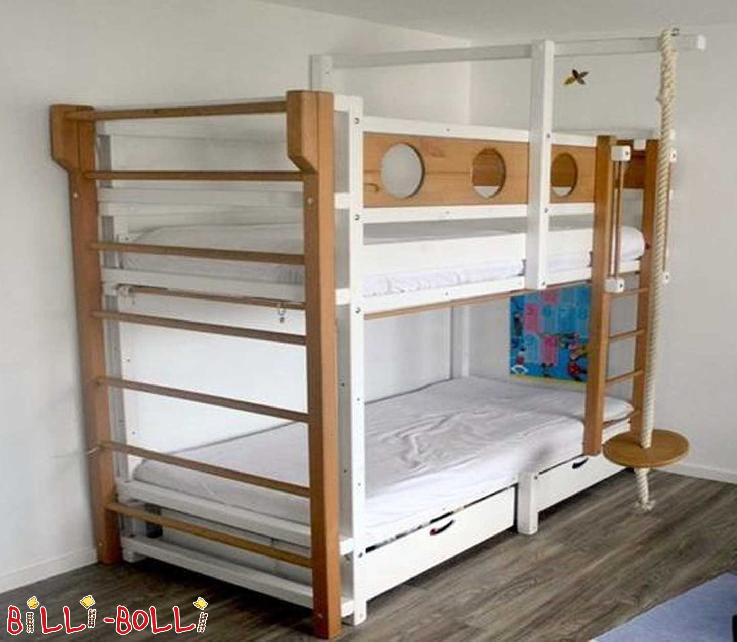 Bunk bed, spruce, 90 x 200 cm, painted white (second hand bunk bed)