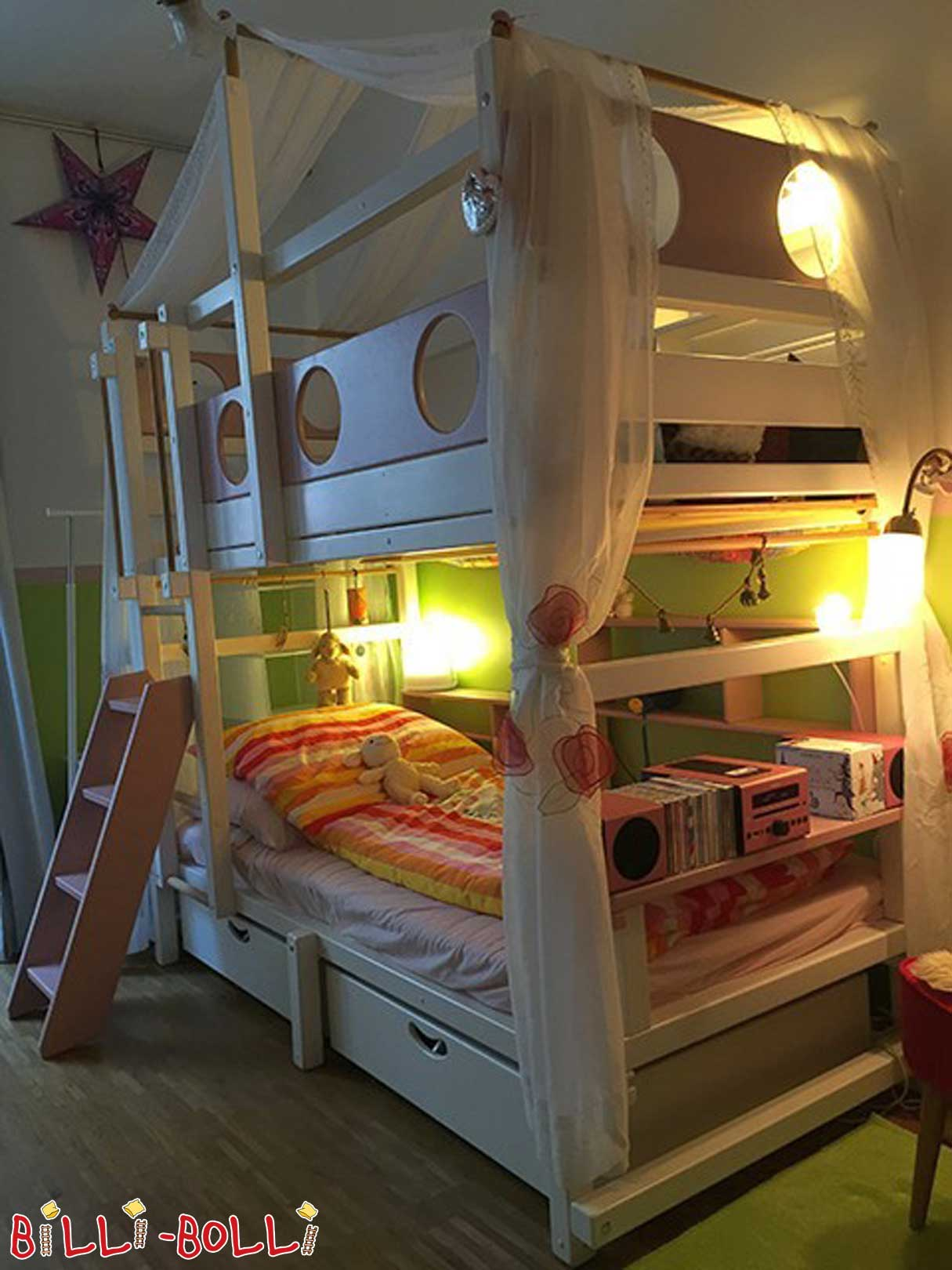 Bunk bed, spruce, 90 x 200 cm, white lacquered (second hand bunk bed)