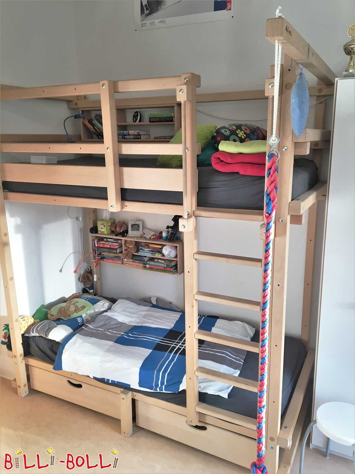 Bunk bed at the height of the student high bed, beech untreated (second hand loft bed)