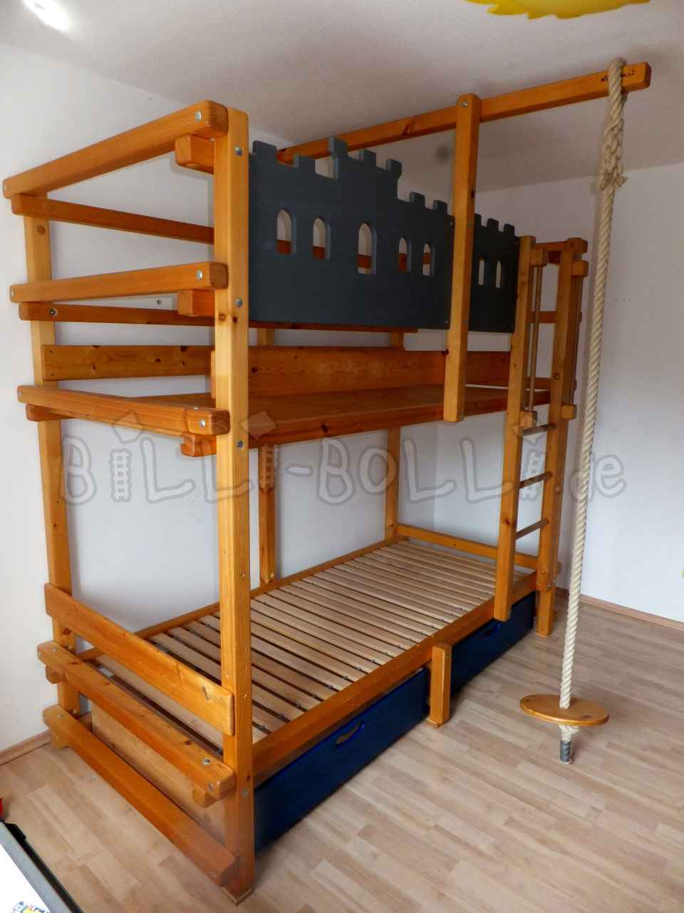 Oiled pine bunk bed for mattress size 90 x 200 cm (Kids furniture second hand)
