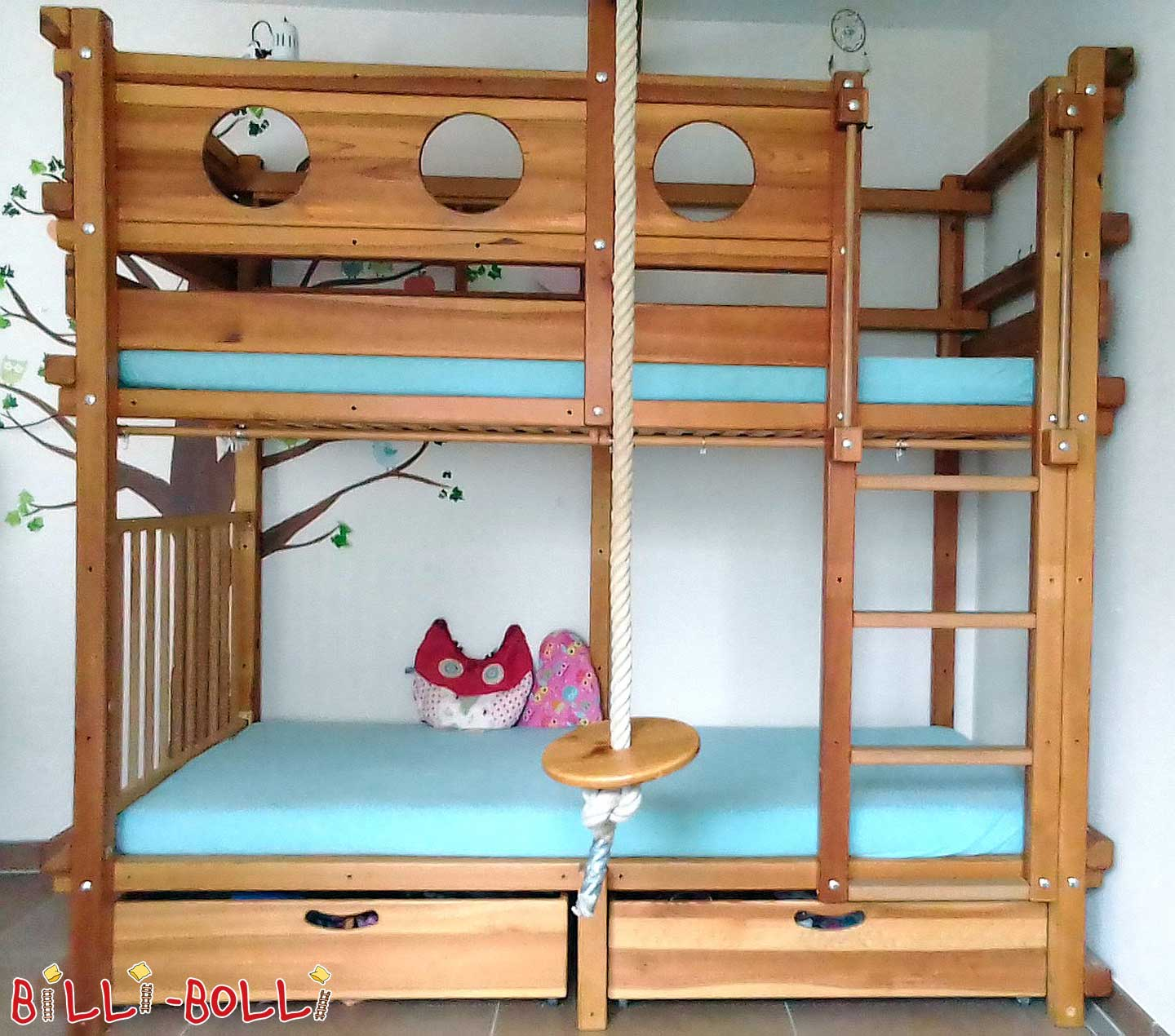 Bunk Bed Pine oil-waxed, 90 x 200 cm (second hand bunk bed)