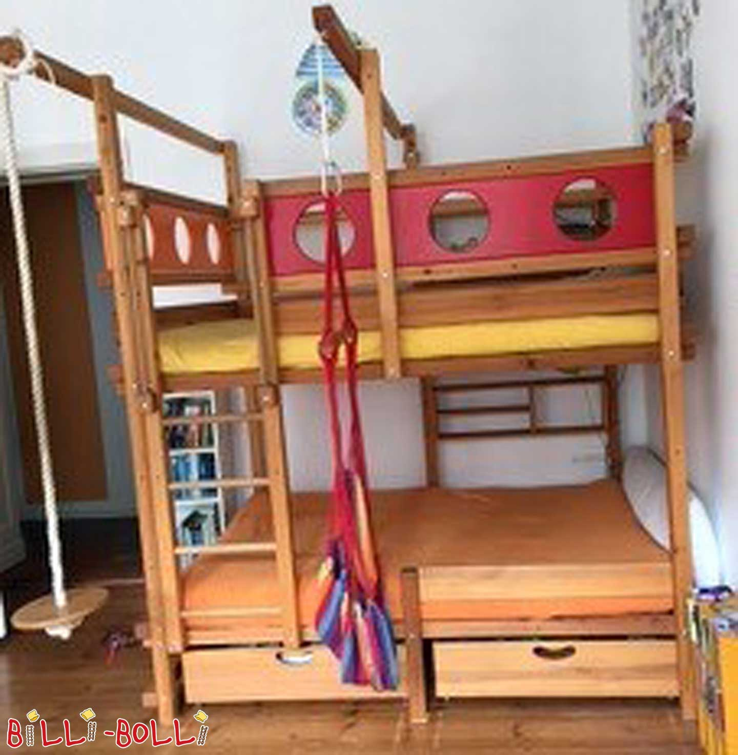 Bunk bed pine, honey oil, 140 x 190 cm (second hand bunk bed)