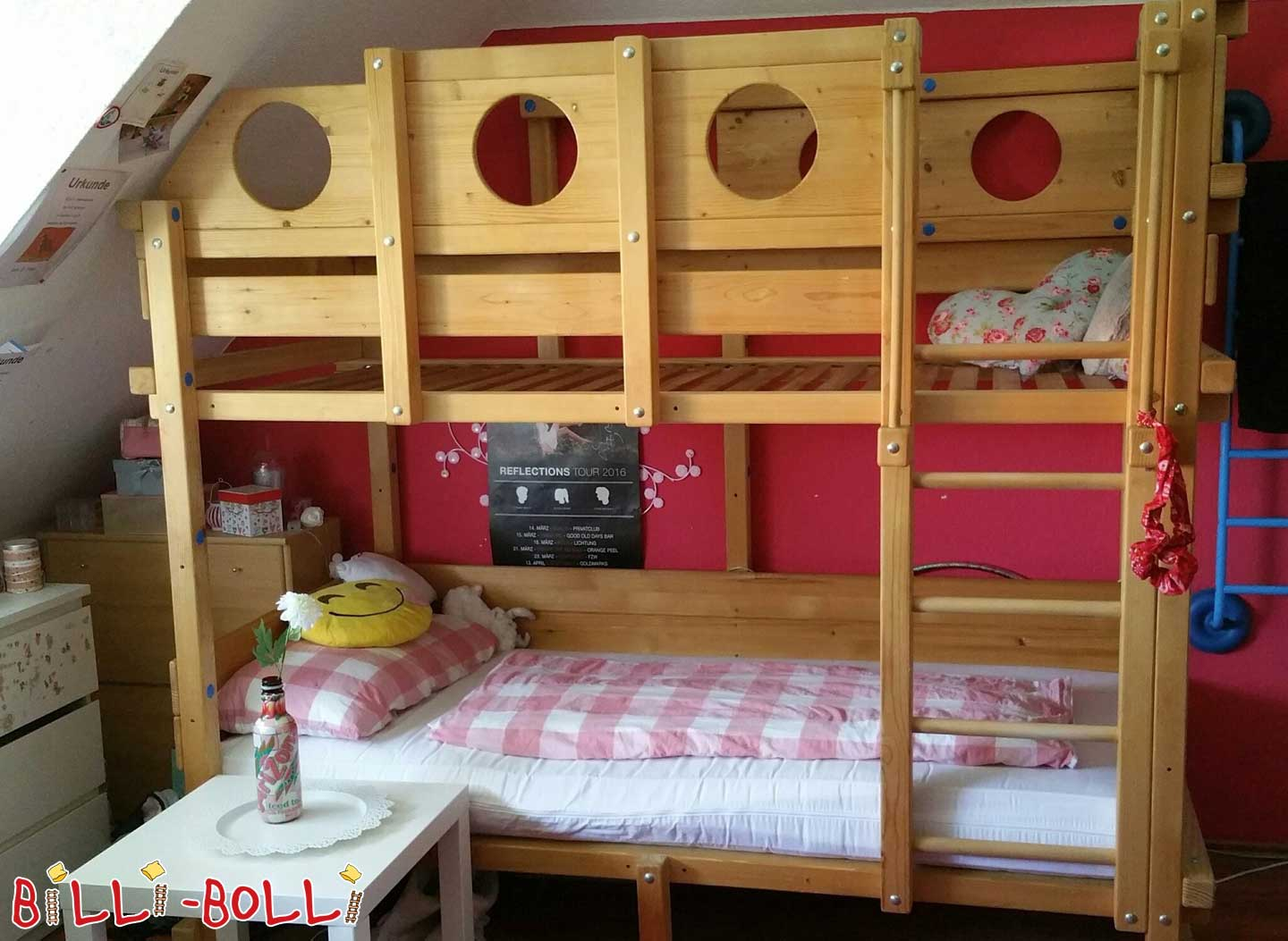 Bunk bed with roof sloping stage in spruce untreated (second hand bunk bed)