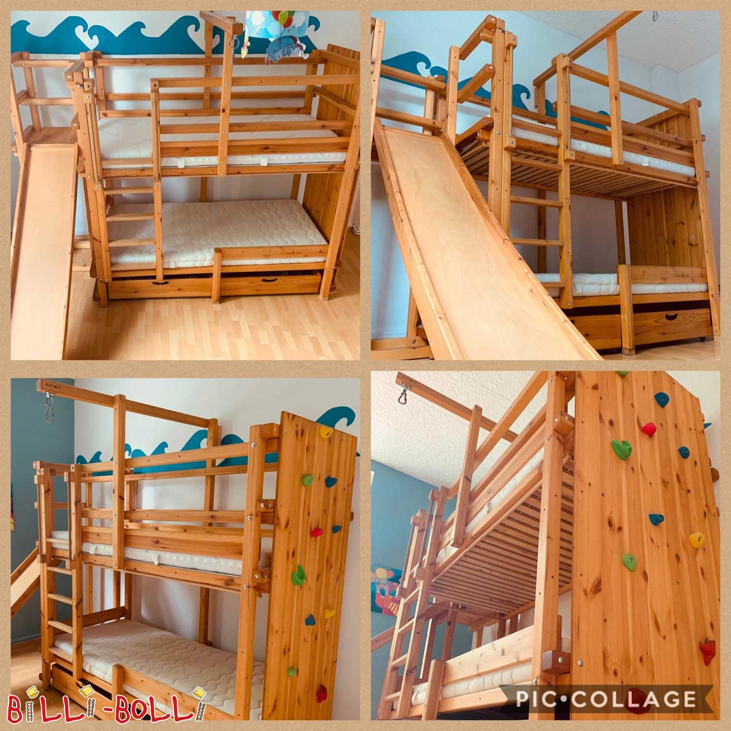 Bunk bed with slide tower and slide (second hand bunk bed)