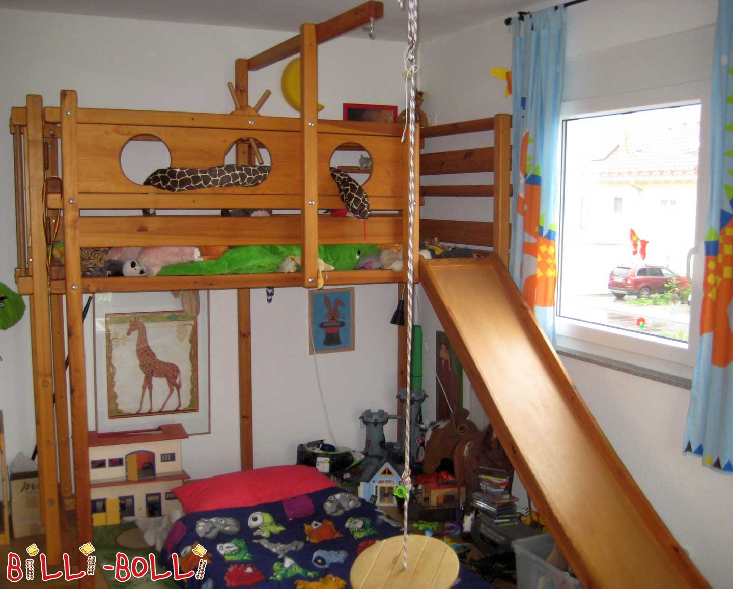 Bunk bed with conversion sets, 90 x 200 cm, pine honey-coloured oiled (second hand loft bed)