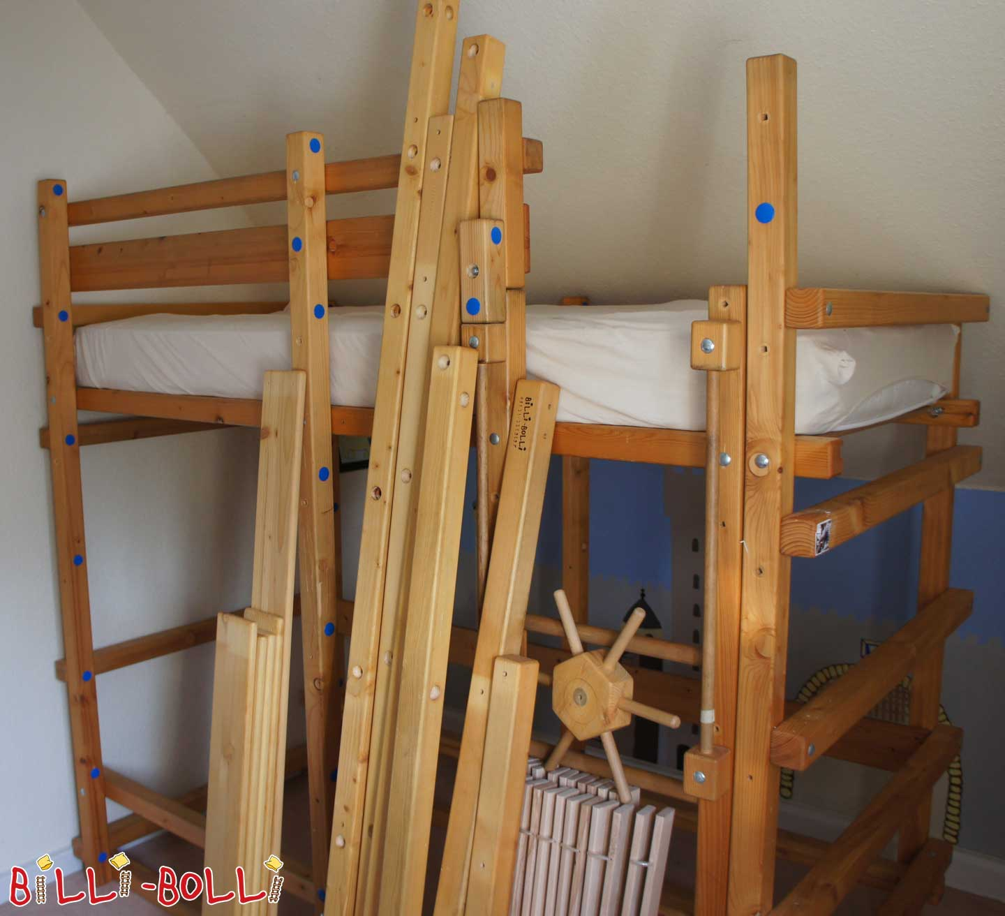 Bunk bed (pirate bed), 90 x 200 cm, spruce oiled-waxed (second hand bunk bed)