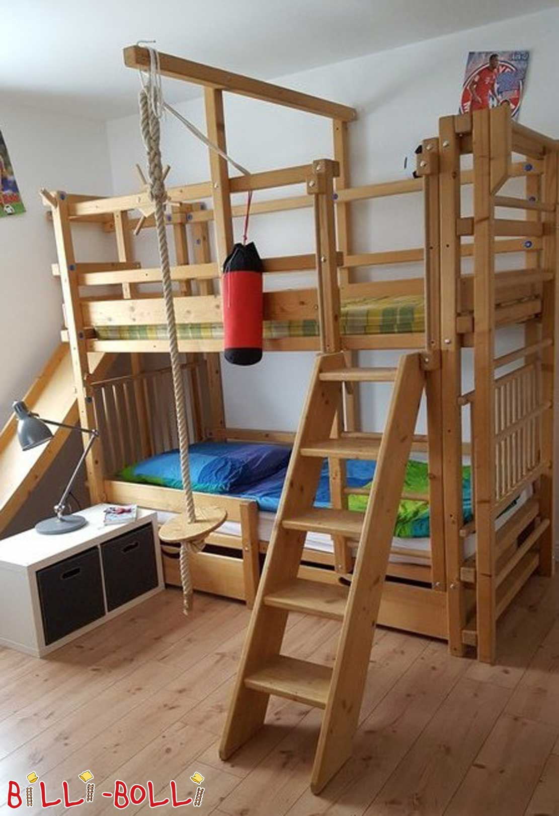 Bunk bed, slide tower and slide, sprout wall (second hand bunk bed)