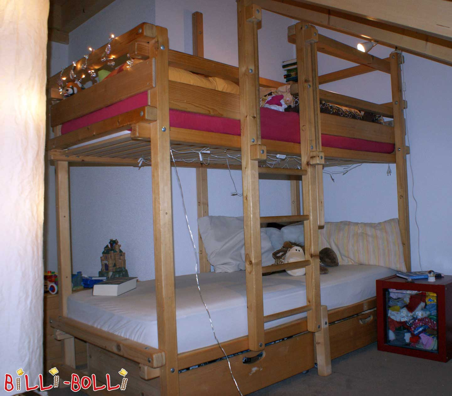 Bunk bed-side offset, 90 x 200 cm, spruce untreated (second hand bunk bed)