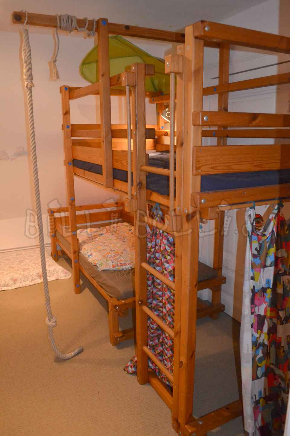 Bunk bed-side offset, 90 x 200 cm, pine oiled (second hand bunk bed)