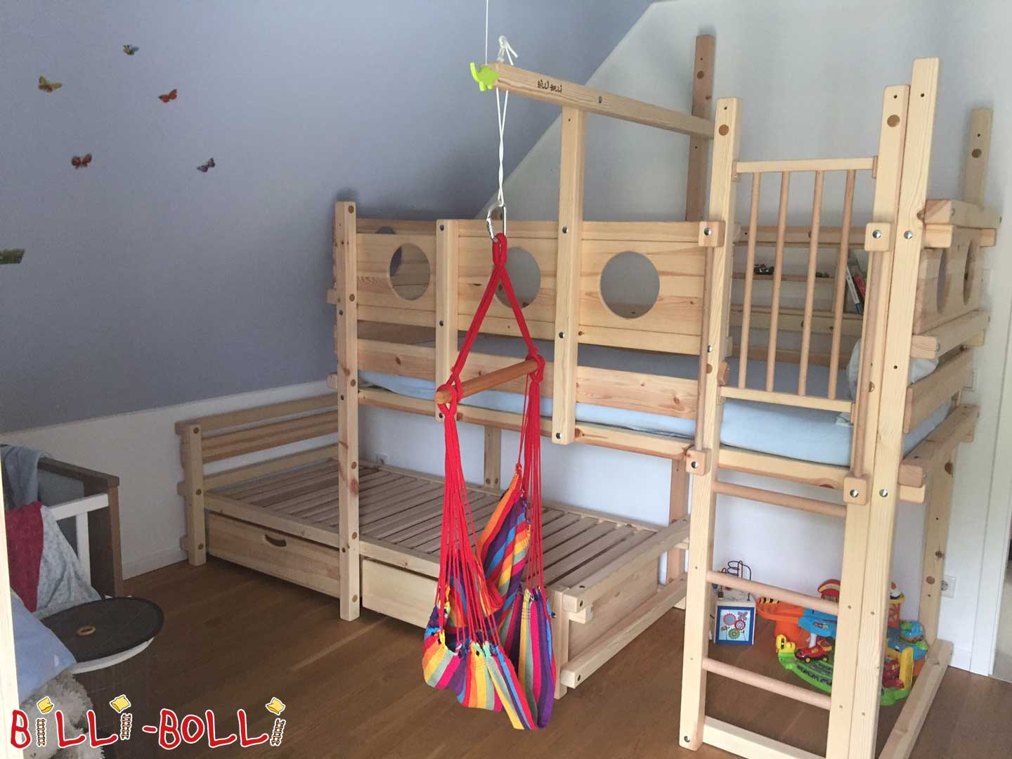 Bunk bed laterally offset, 90 x 200 cm, jaw if left untreated (second hand bunk bed)