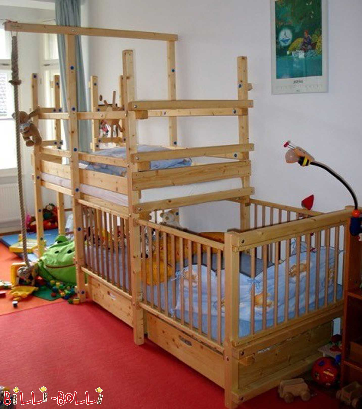 Bunk bed side laced with baby twins (second hand bunk bed)