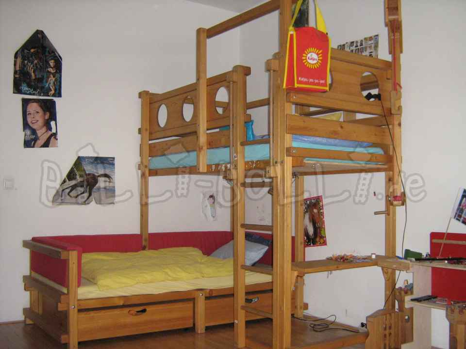 Bunk bed above corner + conversion sets (second hand loft bed)
