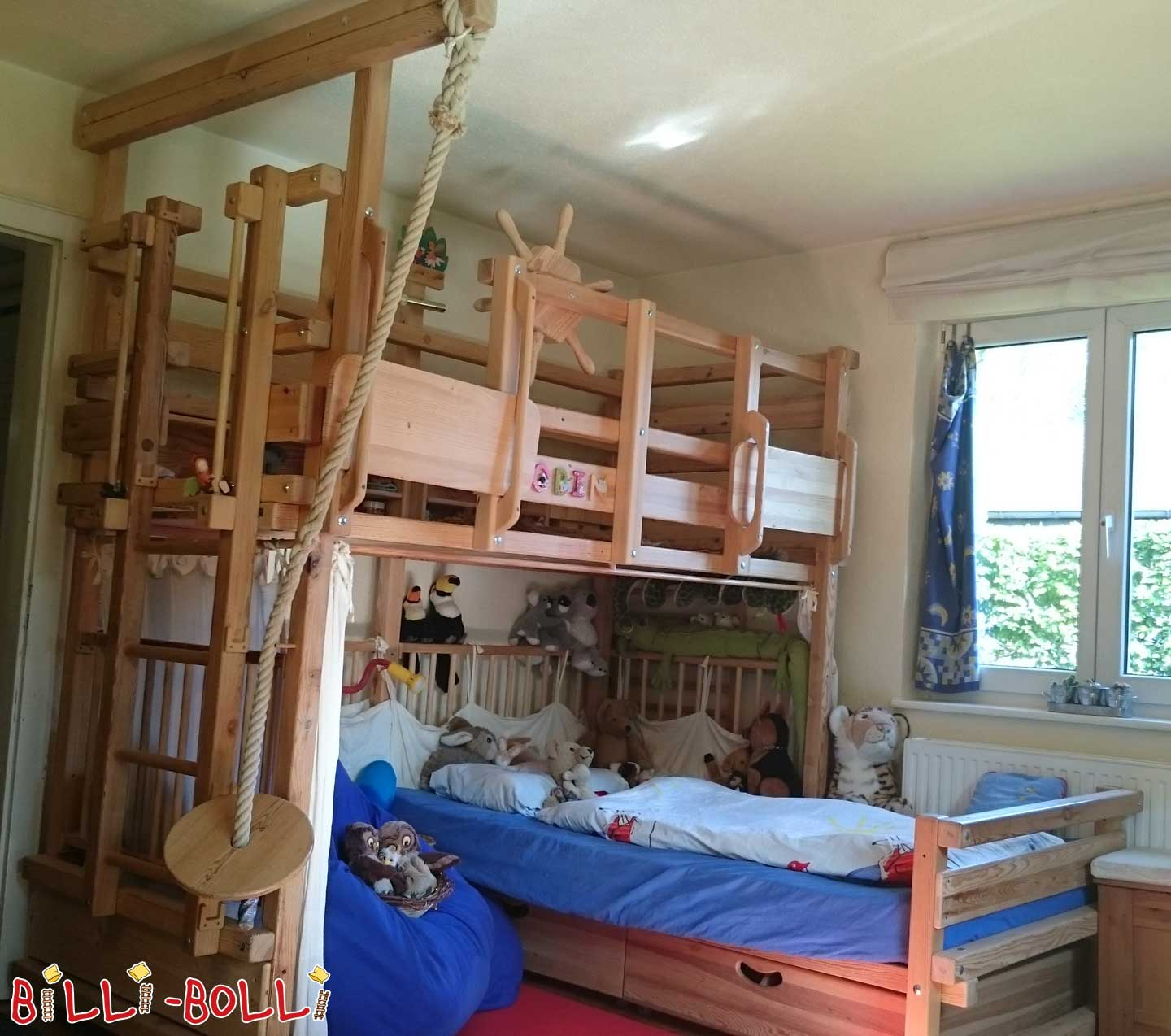 Bunk bed-over-corner, 90 x 200 cm, pine oiled-waxed (second hand bunk bed)
