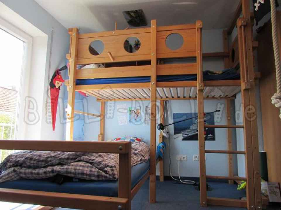 Bunk bed-over-corner, beech oiled, 90 x 200 cm (second hand bunk bed)