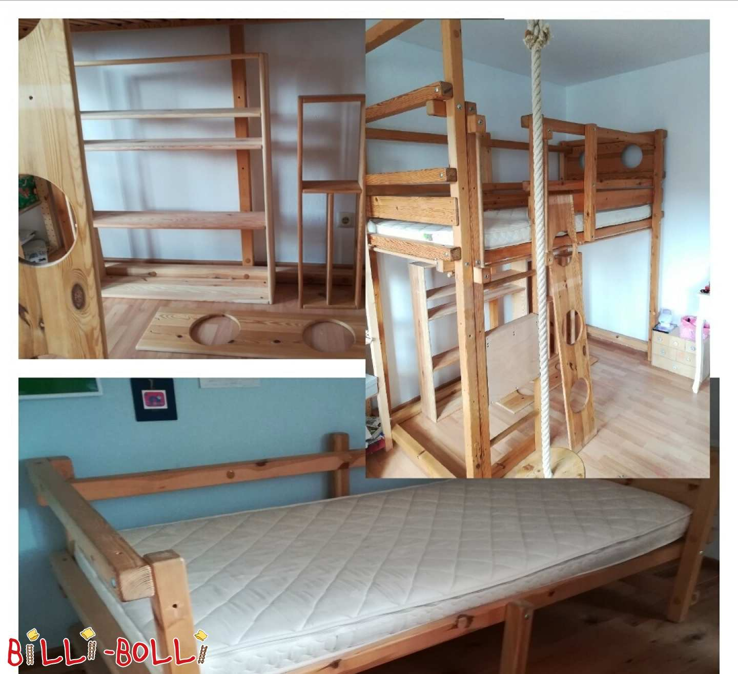 Bunk bed-over-corner in pine untreated including accessories (second hand loft bed)