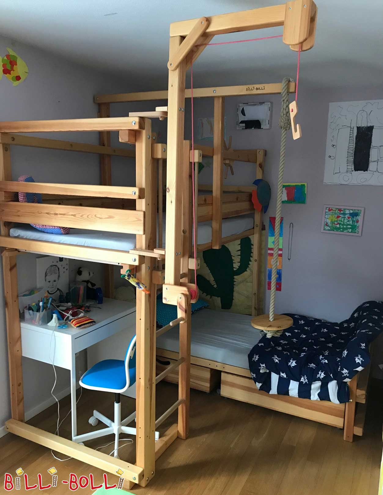 Bunk bed over corner, pine oiled-waxed (second hand bunk bed)