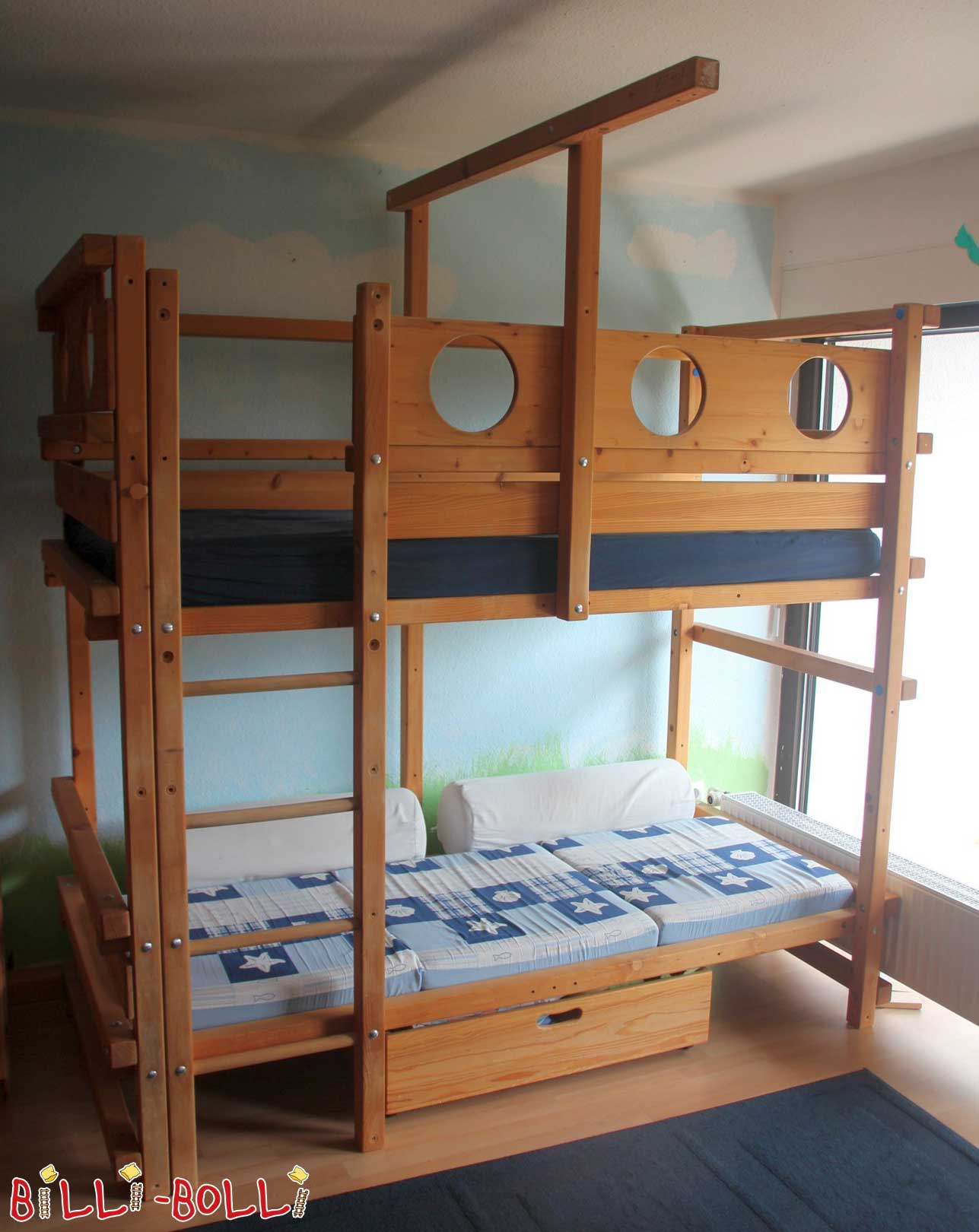"Bunk bed over corner ""pirate"" 90 x 200 cm of spruce (second hand bunk bed)"
