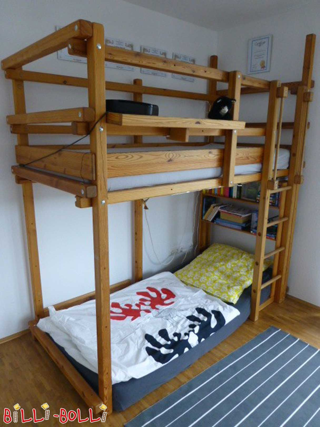 Billi Bolli with growing bunk bed oiled over corner jaw (second hand loft bed)