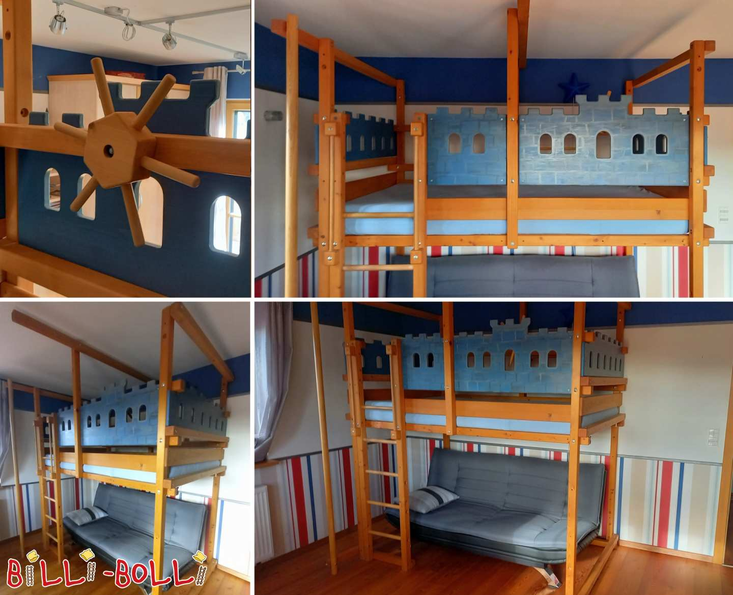 Extra-high bunk bed 120 x 200 cm from spruce in Bürstadt (second hand loft bed)
