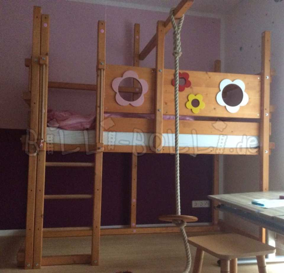 Spruce high bed with flower boards (second hand loft bed)