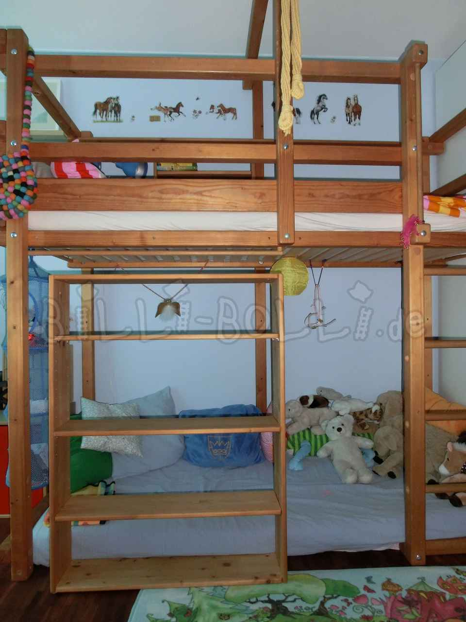 Large bed shelf for sale, spruce oiled (second hand loft bed)