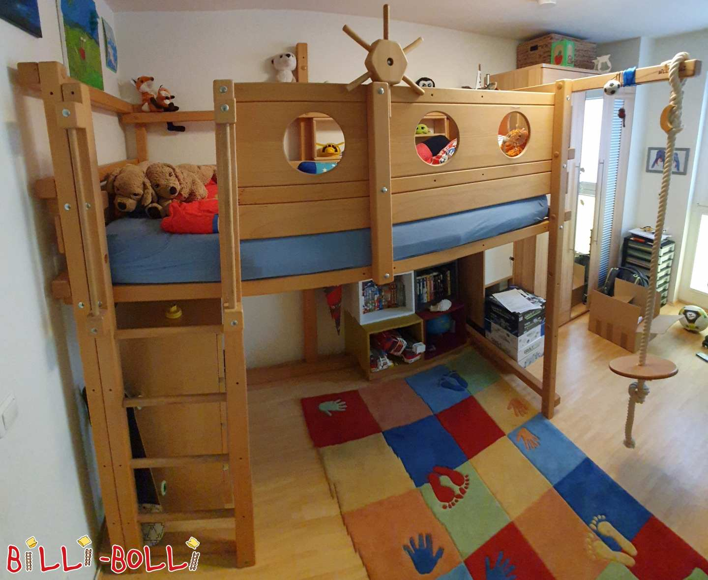 High bed 100 x 200 from beech in Munich (second hand loft bed)