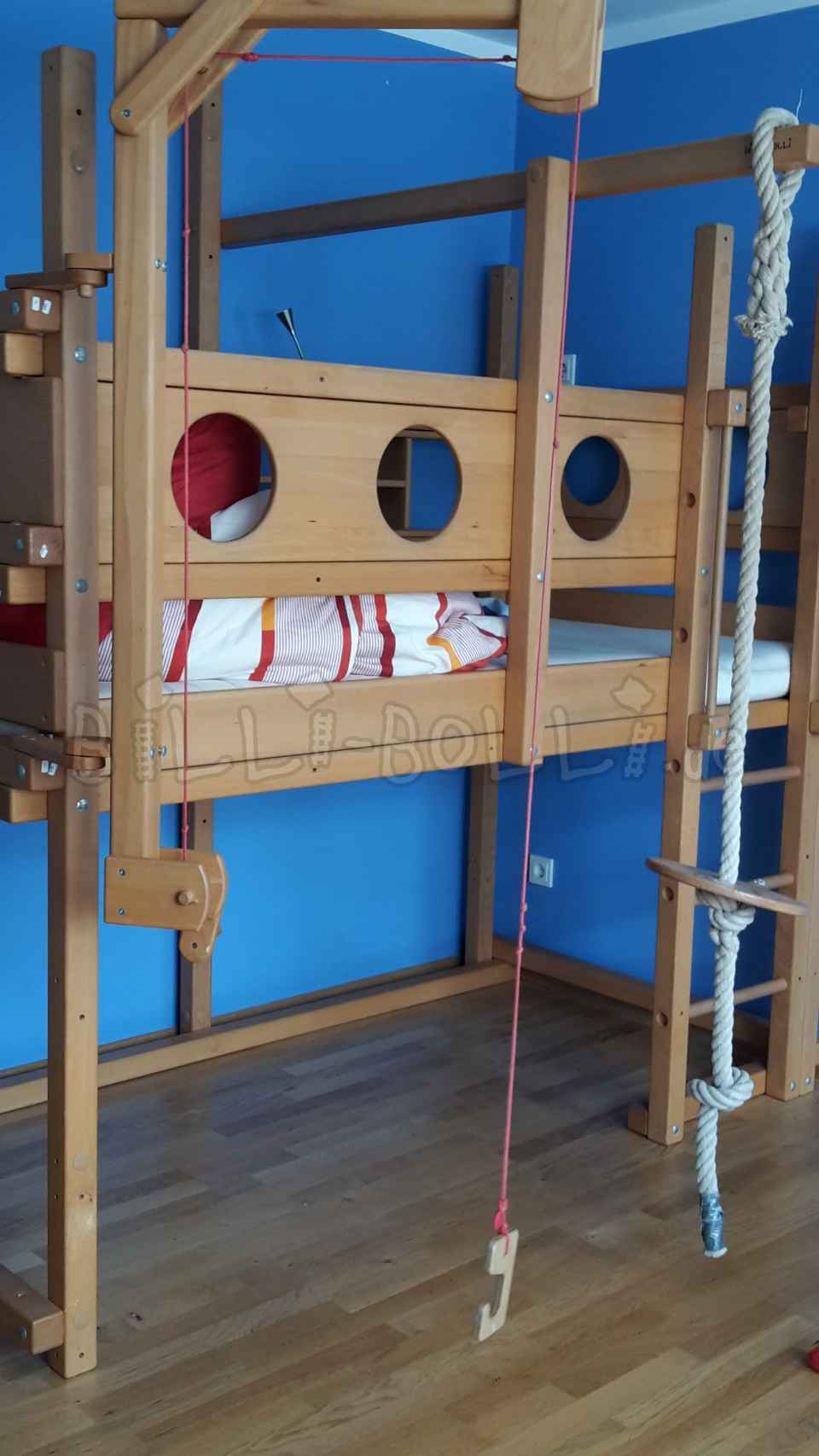 High bed 100 x 200 beech trees untreated (second hand loft bed)