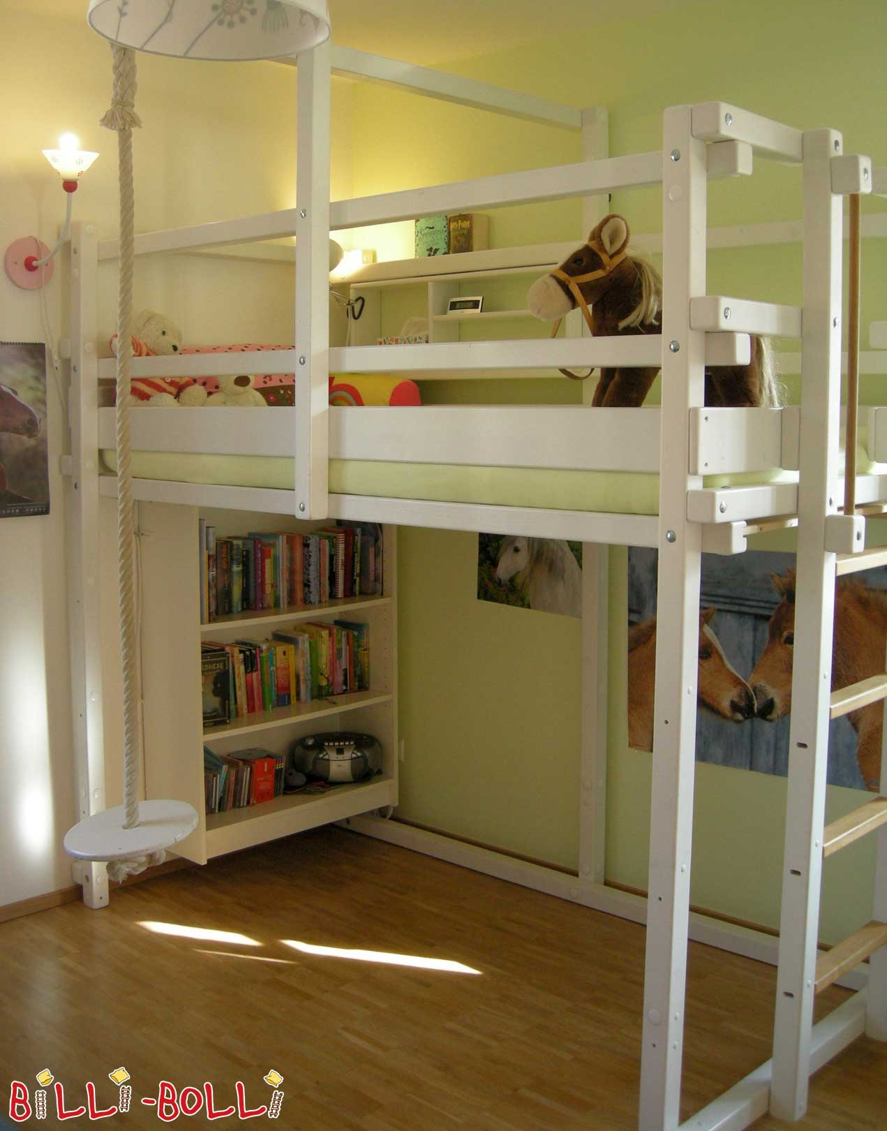 High Bed 100 x 200 cm, Spruce painted white (second hand loft bed)
