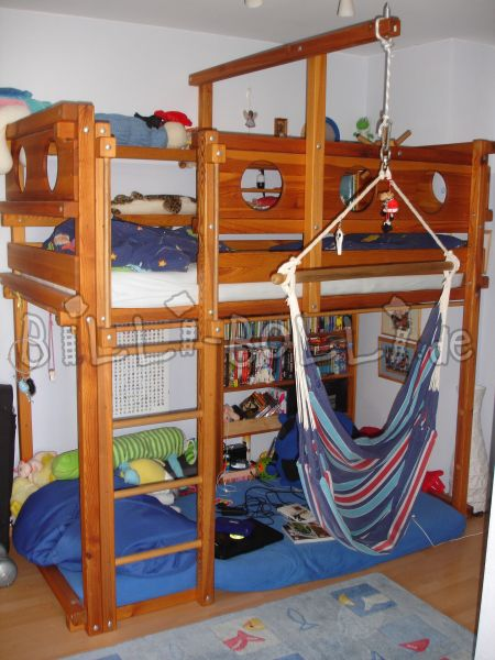 Bunk bed 90/200, pine with oil wax treatment, with accessories (second hand loft bed)