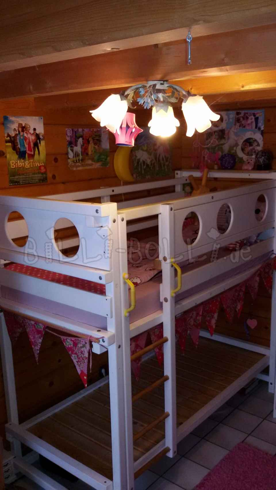 Bunk bed, 90 x 200 cm, white varnished (second hand loft bed)