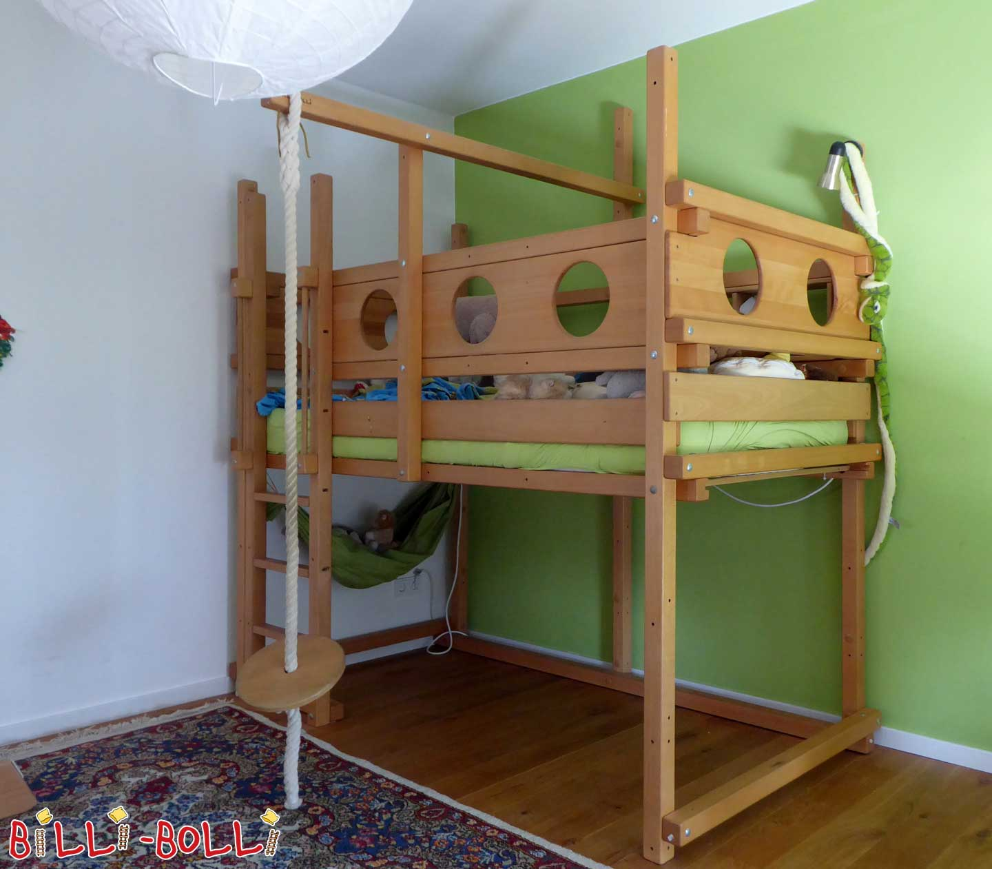 High bed beech oiled-waxed (second hand loft bed)