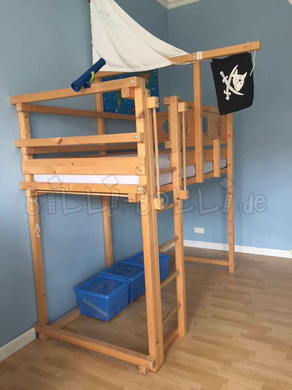High bed, spruce, left untreated, 100x200cm (Kids furniture second hand)