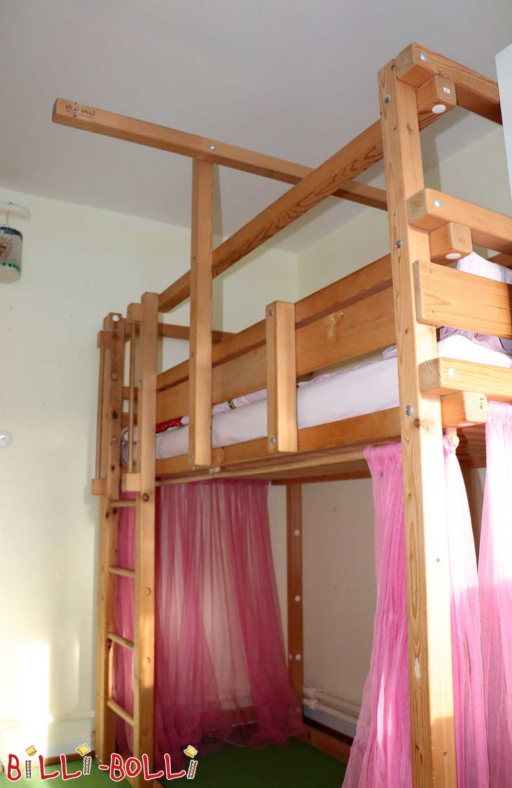 High bed, spruce untreated, 90 x 200 cm (second hand loft bed)